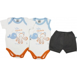 CONJ.2 BODYS (1 NORMAL M/C / 1 REGATA) EST.BALEIA + 1 SHORTS BORD.BALEIA (O)